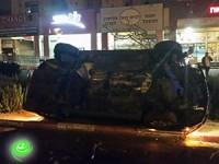 רכב התהפך על שד׳ מנחם בגין