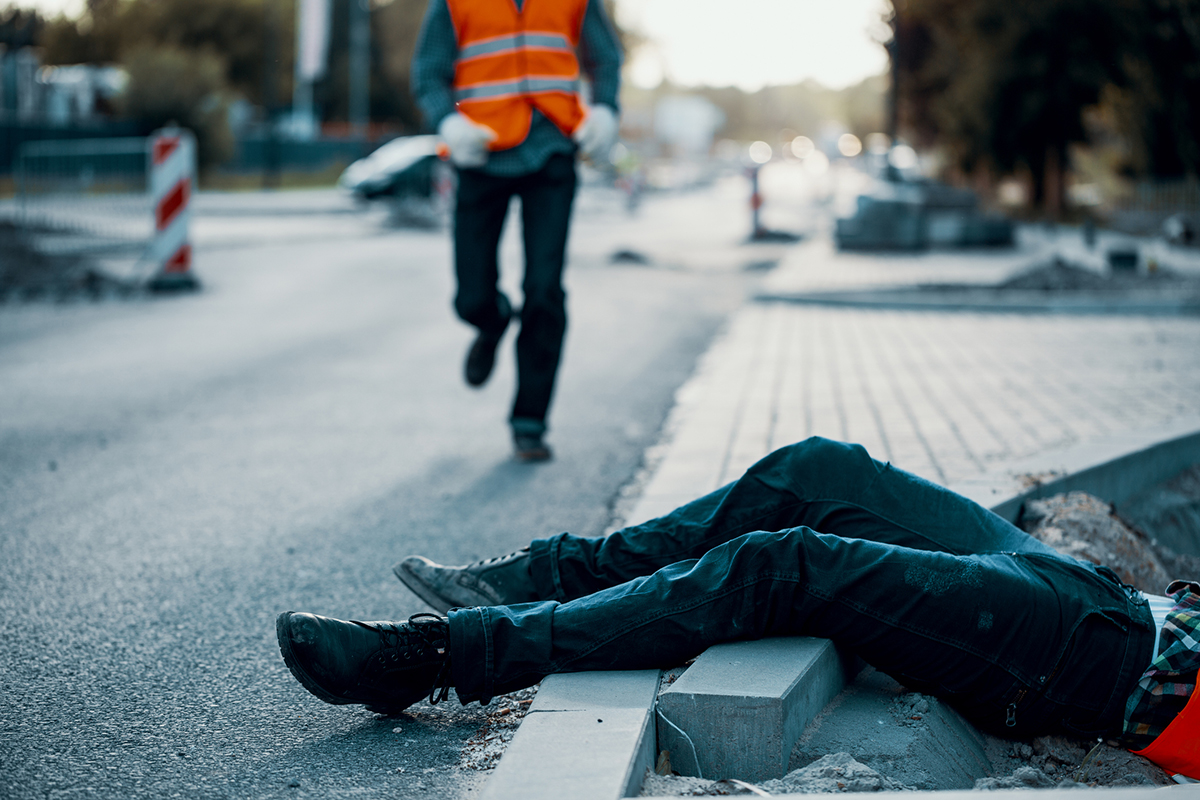 Dead victim during roadworks. Non-compliance with health and safety regulations