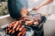 Close-up of barbecue with a lot of meat and sausages